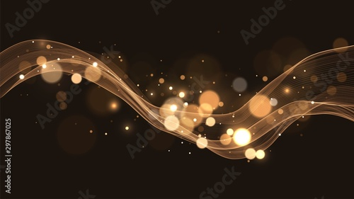 Foto auf Gartenposter Abstrakte Welle Black background with golden wave, golden blurred dust, sparks, abstract background with bokeh effect