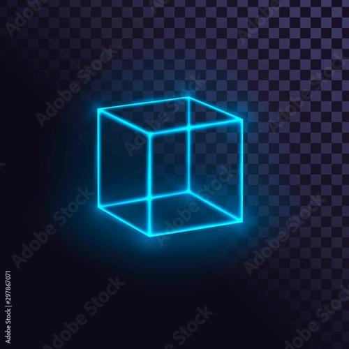 Glowing blue neon cube, futuristic box or block, laser cube on transparent backg Canvas Print
