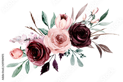 Pinturas sobre lienzo  Pink, purple flowers watercolor, floral clip art