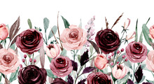 Repeating Border, Pattern With Watercolor Pink And Purple Flowers, Botanical Hand Painting, Isolated On White. Perfectly For Web Design, Greeting, Wedding Invitation, Fabric And Other Printing.