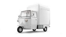 Three-wheeled Light Commercial Vehicle Isolated On White
