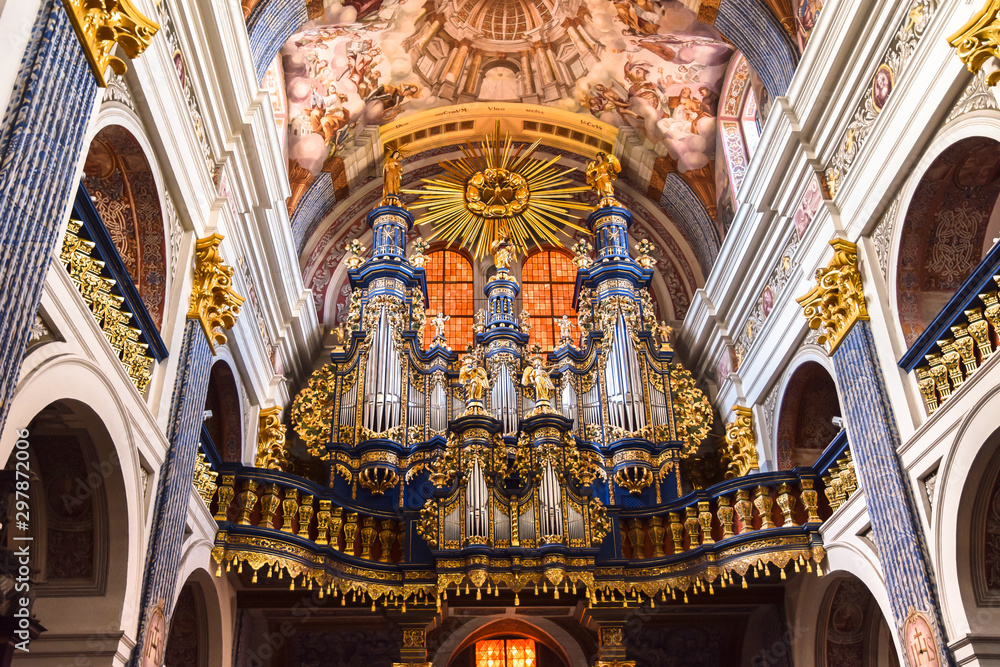 Fototapety, obrazy: Organ in Basilica of the Visitation of the Virgin Mary in Swieta Lipka (Holy Lime). Warmian-Masurian voivodeship, Poland.