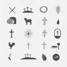 Easter Icon Vector Pack Crosses Nails Resurrection Tomb Lamb Blood Crown Of Thorns SDove Hands Palm Fronds Risen Bible Jesus God