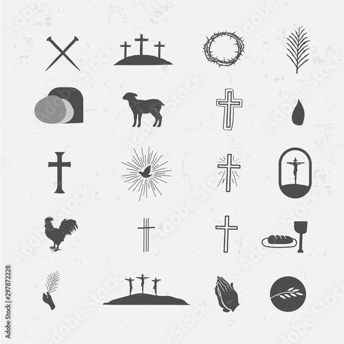 Easter Icon Vector Pack Crosses Nails Resurrection Tomb Lamb Blood Crown of Thor Fototapete