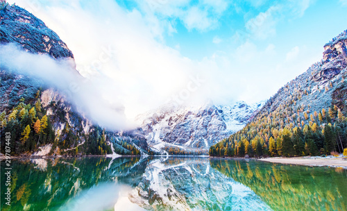 Magical beautiful fairy autumn landscape on the lake on Fanes-Sennes-Braies natural park in the Dolomites in South Tyrol, Alps, Italy, Europe Canvas