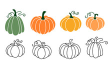 A Set Of Pumpkins, Black Outlined And Colored. Vector Collection Of Cute Hand Drawn Pumpkins On White Background. Elements For Autumn Decorative Design, Halloween Invitation, Harvest  Thanksgiving.