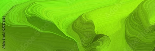 futuristic wave motion speed lines background or backdrop with dark green, lawn green and green yellow colors. good for design texture