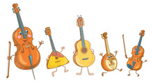 Stringed Musical Instruments. Funny Cello, Balalaika, Guitar, Mandolin And Violin. In Cartoon Style. Isolated On A White Background.