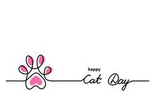 Cat Cute Vector Paw. Happy Cat...