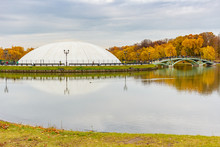 Protective Dome Over The Light And Music Fountain On Podkova Island In Tsaritsyno Park In Moscow. Tsaritsyno Park In Cloudy Autumn Day