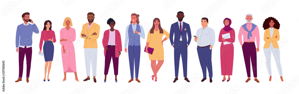 Fototapeta Office multinational team. Vector illustration of diverse cartoon men and women of various races, ages and body type. Isolated on white.