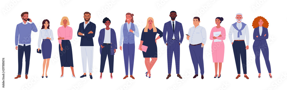 Fototapeta Business multinational team. Vector illustration of diverse cartoon men and women of various races, ages and body type in office outfits. Isolated on white.