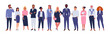 Business multinational team. Vector illustration of diverse cartoon men and women of various races, ages and body type in office outfits. Isolated on white.