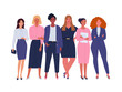 Business ladies team. Vector illustration of diverse standing cartoon women in office outfits. Isolated on white.