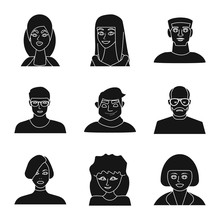 Isolated Object Of Avatar And Profession Logo. Set Of Avatar And People Vector Icon For Stock.