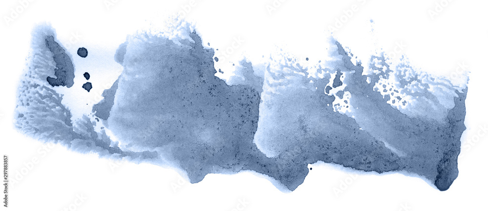 Fototapety, obrazy: Abstract watercolor background hand-drawn on paper. Volumetric smoke elements. Navy blue color. For design, web, card, text, decoration, surfaces.