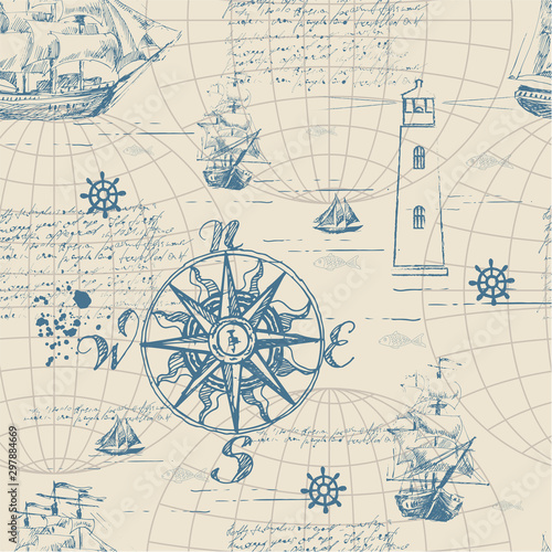 Obrazy z napisami  vector-abstract-seamless-background-on-the-theme-of-travel-adventure-and-discovery-old-hand
