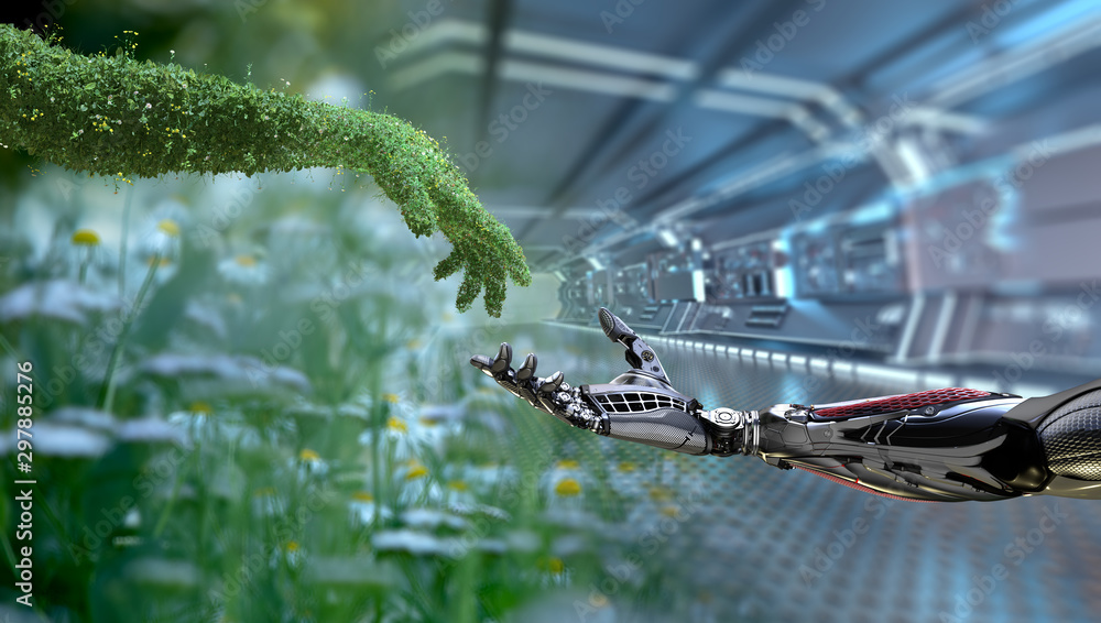 Fototapeta Green technology conceptual design, human arm covered with grass and lush and robotic hand, 3d render