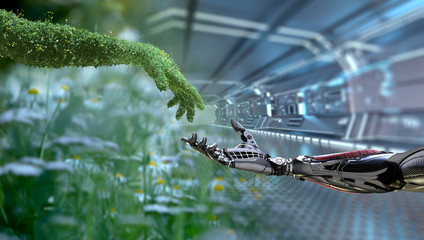 Green technology conceptual design, human arm covered with grass and lush and robotic hand, 3d render