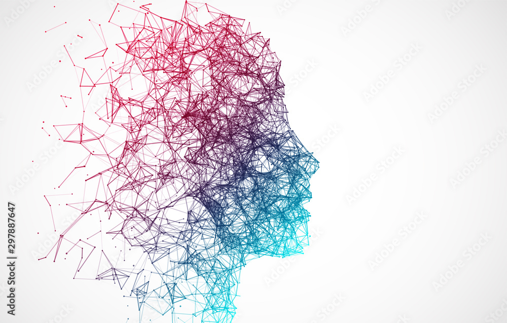 Fototapeta Artificial Intelligence concept.  Creative brain concept background. Vector science illustration.