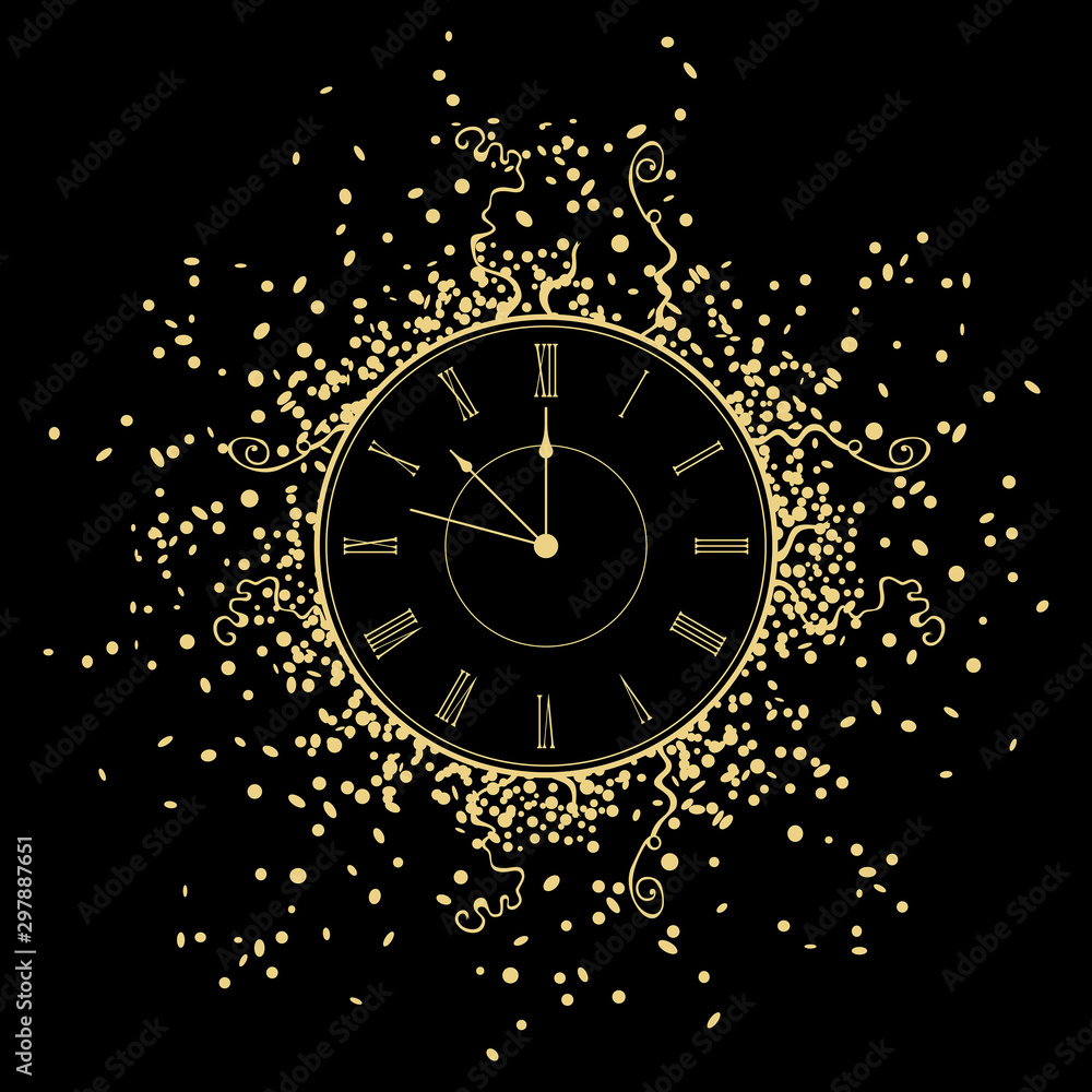 Fototapety, obrazy: New Year gold Clock. isolated on black background