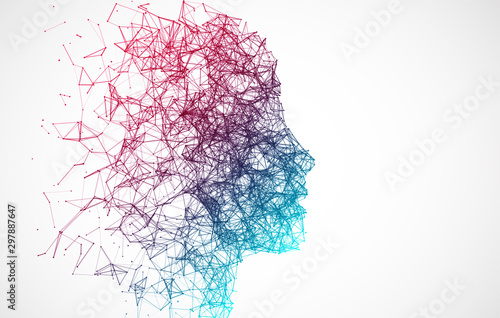 Obraz Artificial Intelligence concept.  Creative brain concept background. Vector science illustration. - fototapety do salonu