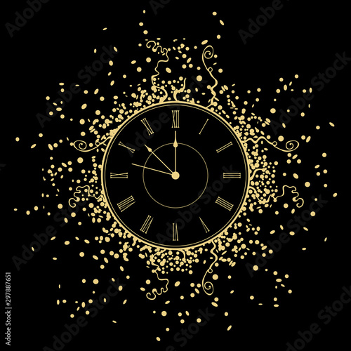 New Year gold Clock. isolated on black background Wallpaper Mural