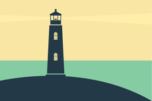 Seascape With A Lighthouse, Shore And Rays Of Light. Vector Flat Image.