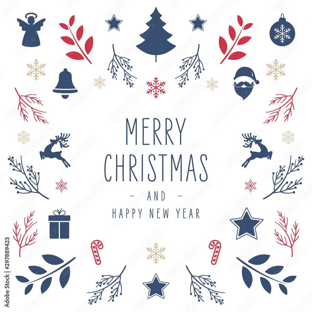 Fototapety, obrazy: Christmas icon elements border square card with greeting text isolated white background.