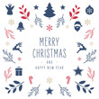 Christmas icon elements border square card with greeting text isolated white background.