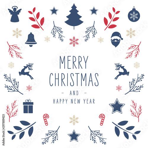 Valokuvatapetti Christmas icon elements border square card with greeting text isolated white background