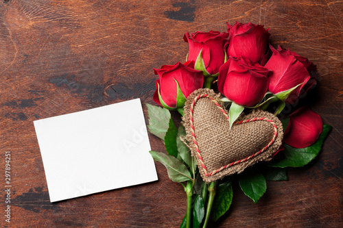 Valentine's day greeting card with roses - 297894251