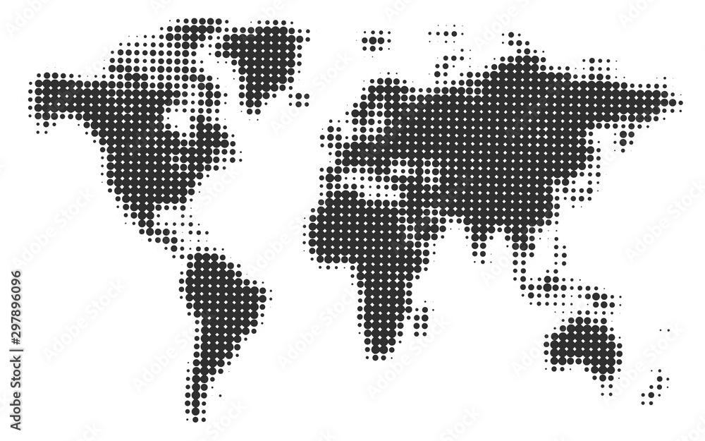 Fototapety, obrazy: Monochrome halftone world map, vector illustration