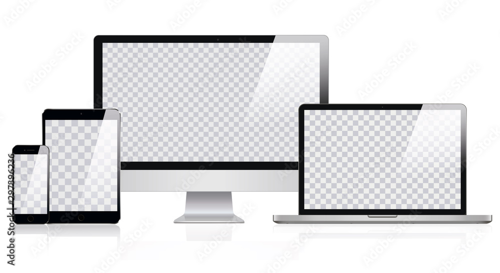 Fototapeta Mockup of Realistic Computer, Laptop, Tablet and smartphone with Transparent Wallpaper Screen Isolated. Set of Device Mockup Separate Groups and Layers. Easily Editable Vector. Vector illustration