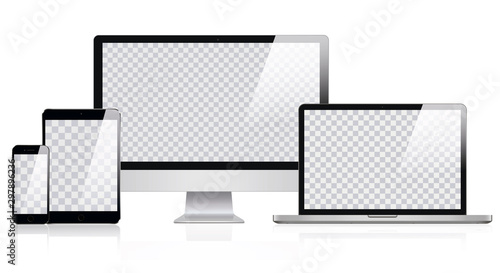 Stampa su Tela  Mockup of Realistic Computer, Laptop, Tablet and smartphone with Transparent Wallpaper Screen Isolated