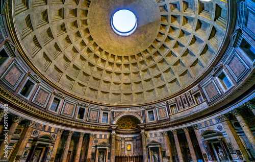 Leinwand Poster Wide Dome Pillars Altar Pantheon Rome Italy