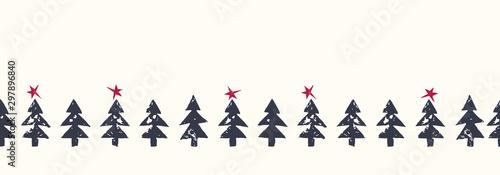 Fototapeta Christmas Rustic Festive Hand-Stamped Fir Trees and Stars Vector Seamless HorizontalBorder Pattern obraz