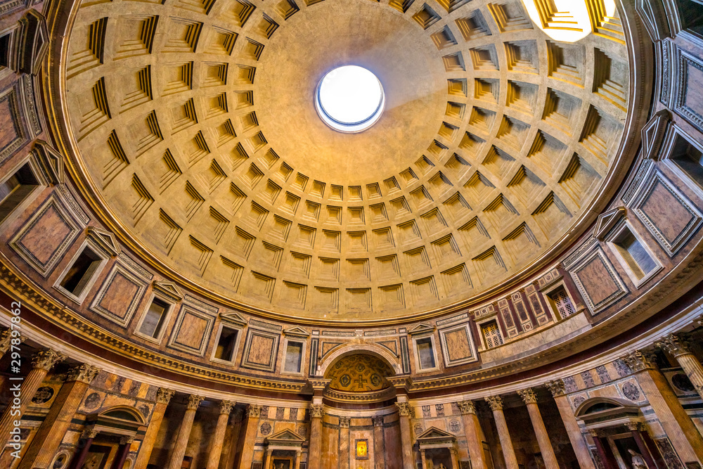 Fototapety, obrazy: Dome Pillars Altar Wide Pantheon Rome Italy