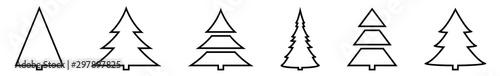 Fényképezés  Christmas Tree Black Shape Icon | Fir Tree Illustration | x-mas Symbol | Logo |