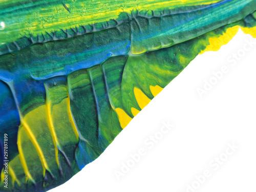 Montage in der Fensternische Schmetterlinge im Grunge Blue, green and yellow acrylic painting texture on white paper background by using rorschach inkblot method.
