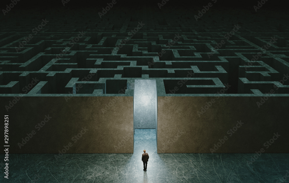 Fototapety, obrazy: Businessman standing in front of the entrance to the maze. 3d rendering