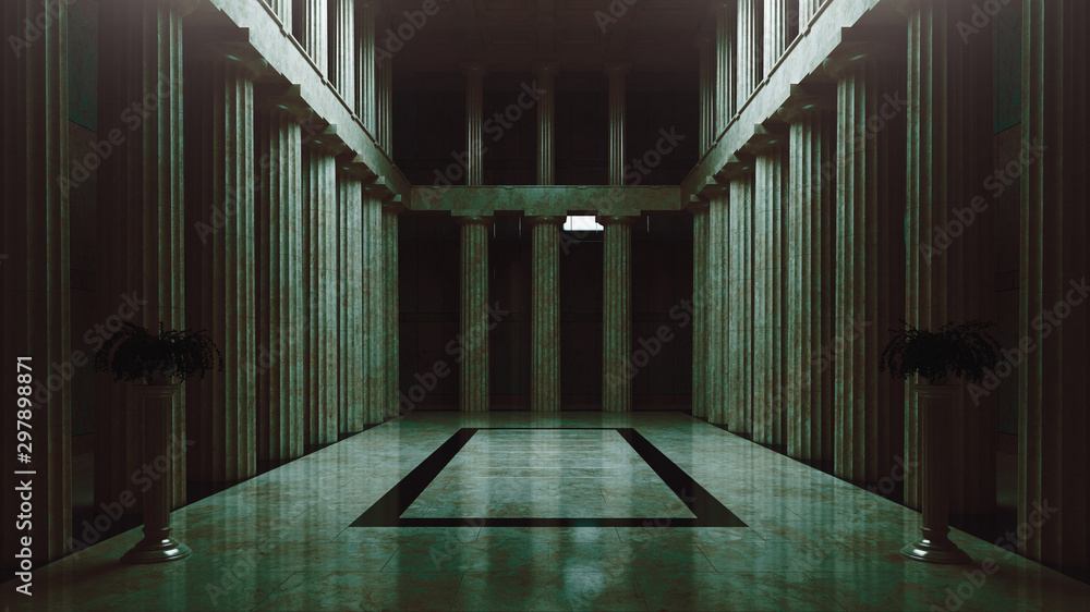 Fototapeta Abandoned assembly hall, empty room, 3d rendering