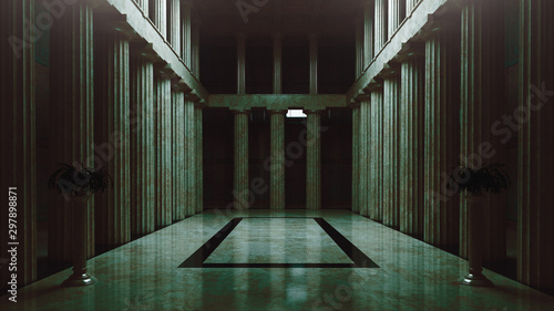Abandoned assembly hall, empty room, 3d rendering Canvas Print
