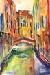 Obraz malowany recznie akwarelą przedstawiający kanał z gondolą w Wenecjii