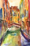 Fototapeta Miasto - Obraz malowany recznie akwarelą przedstawiający kanał z gondolą w Wenecjii