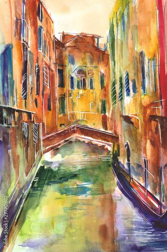 Fototapeta Obraz malowany recznie akwarelą przedstawiający kanał z gondolą w Wenecjii obraz