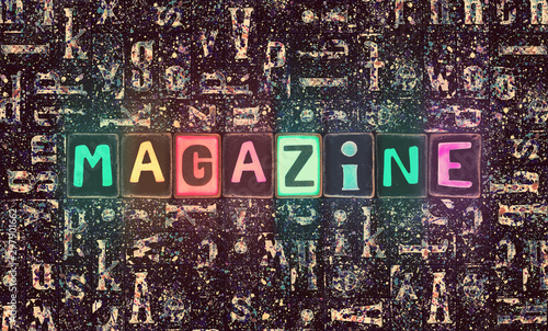 Word Magazine as 3d neon glow letters Canvas Print