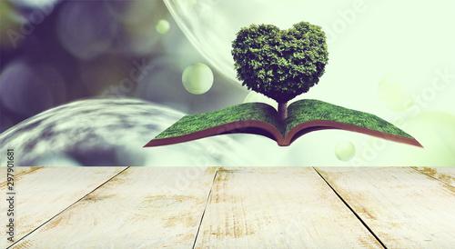 Foto auf Gartenposter Garten stylized image of a heart-shaped tree on an open book on an abstract background