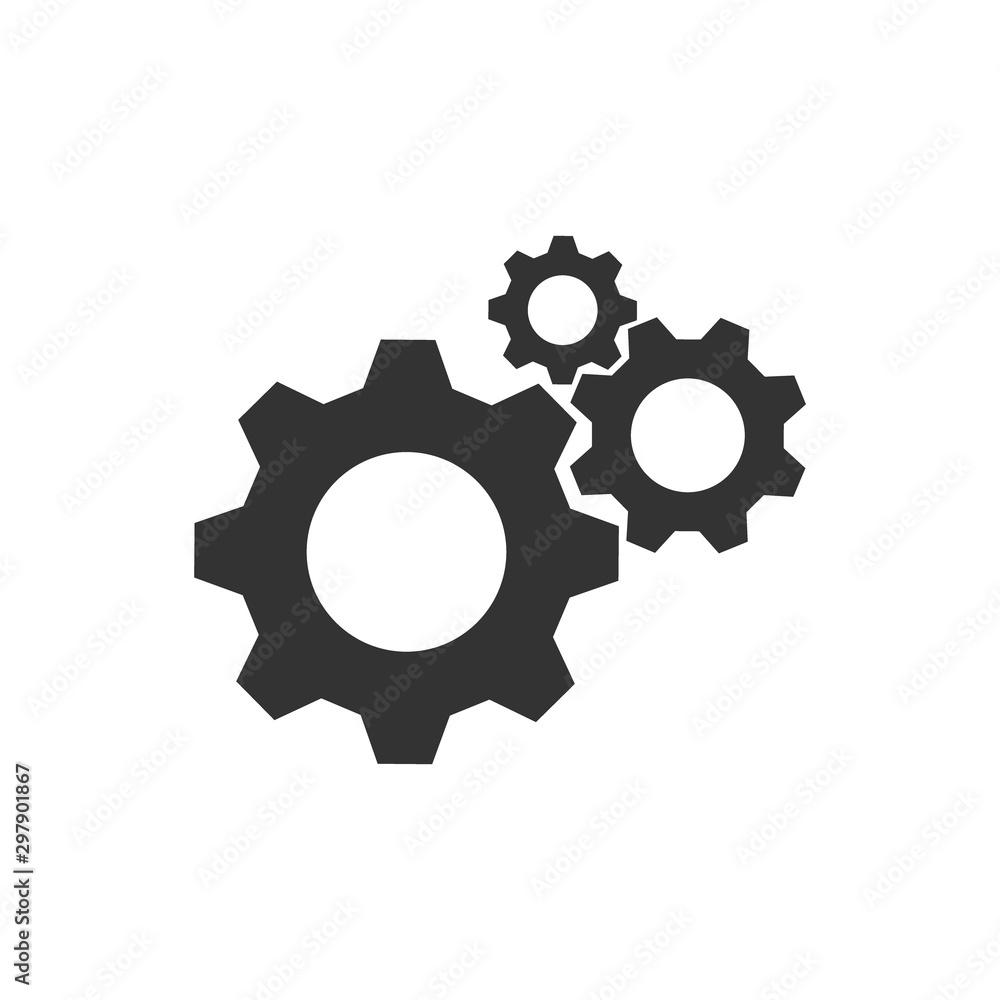 Fototapeta Cogwheel group black vector icon. Gear set simple glyph web symbol.