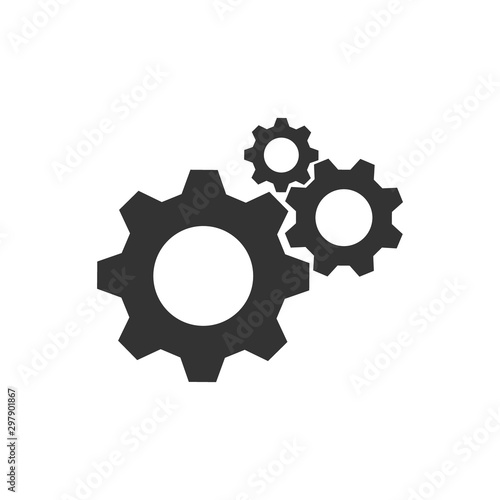 Fotografía  Cogwheel group black vector icon